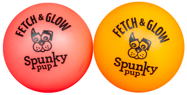 Two Fetch & Glow Balls side by side, red and orange