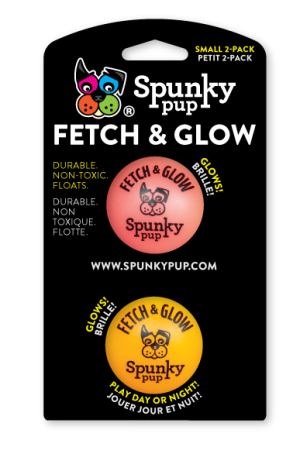 Small 2-pack of Fetch & Glow balls, red and orange