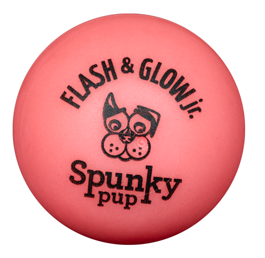 Spunky Pup Flash & Glow Jr. Ball is red orange