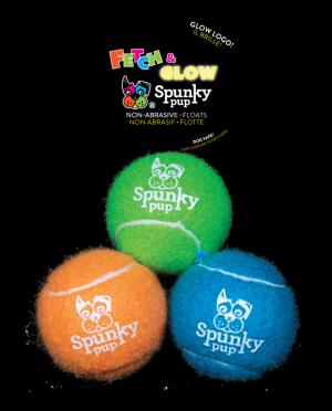 Three Spunky Pup Fetch & Glow Tennis Balls, green, orange and blue