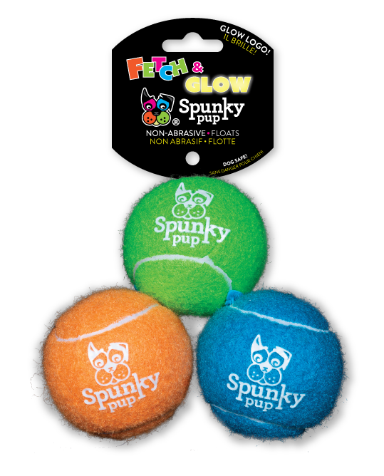 Three Spunky Pup Fetch & Glow Tennis Balls, green, orange and blue