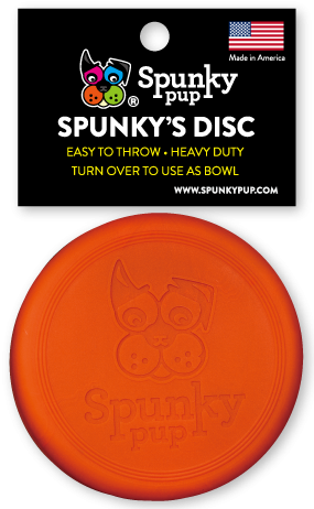 Orange frisbee disc with Spunky Pup logo