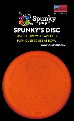 Orange frisbee disc with Spunky Pup logo