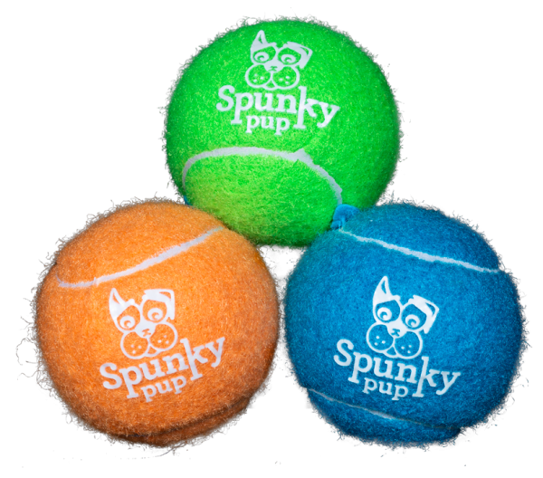 Three tennis balls with Spunky Pup logo in colors green, orange and blue