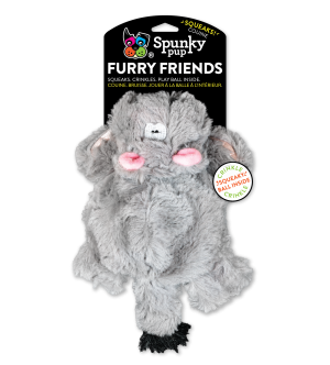 Furry Friends Hippo shaped plush toy with squeaker