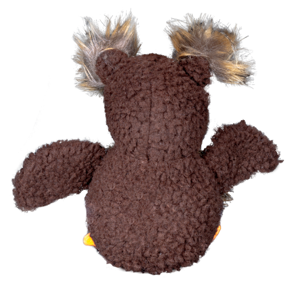 Owl Furry Friends is a brown plush material - back side