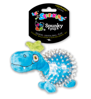 Lil' Bitty Squeakers Dino is light blue with a clear squeaker