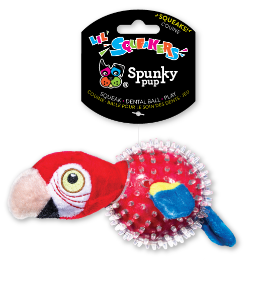 Lil' Bitty Squeakers Parrot is red with a clear squeaker