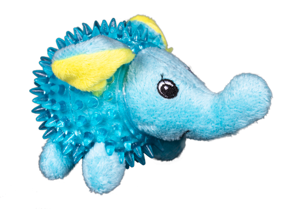 Lil' Bitty Squeakers Elephant is light blue with yellow accents