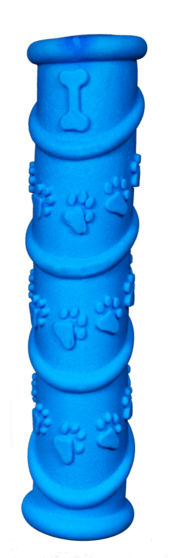Gnaw Guard Foam Stick is blue with a paw print pattern