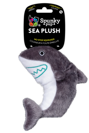 Sea Plush Shark is grey and white