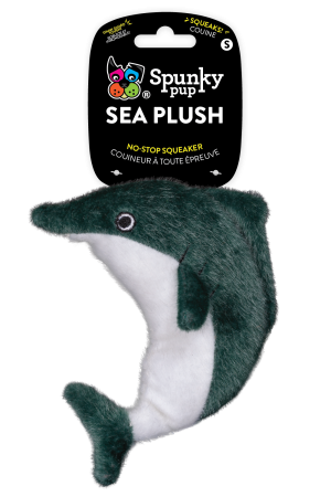 Sea Plush Dolphin is grey and white