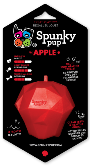 Red apple shaped toy for holding treats