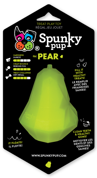 Lime green pear shaped toy for holding treats