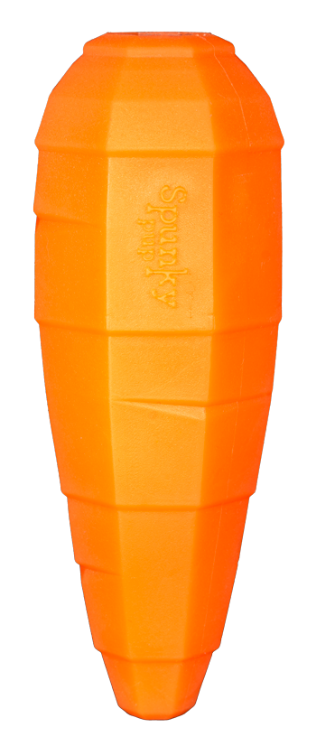 Orange carrot shaped toy for holding treats