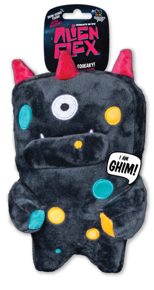 Ghim Alien Flex Plush is dark grey with multiple color accents on the body