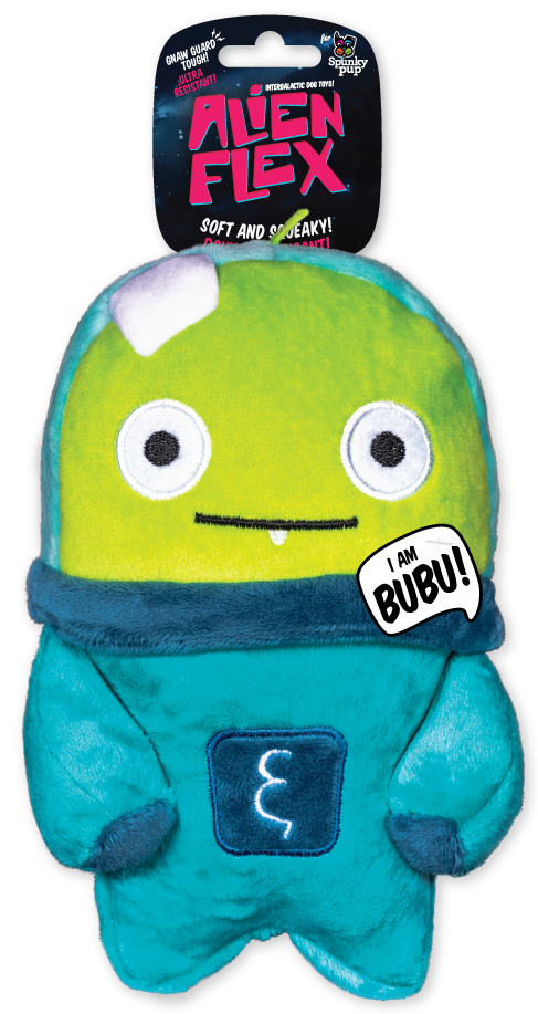 Bubu Alien Flex Plush is teal with a lime green fact and dark teal accents on body