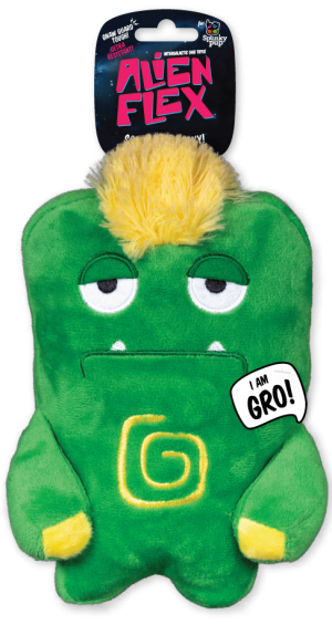 Gro Alien Flex Plush is green with a yellow mohawk and yellow accents on body