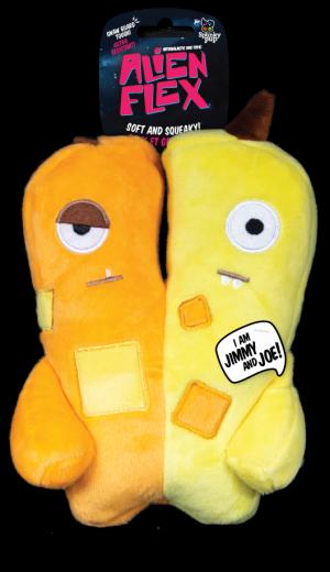 Jimmy and Joe Alien Flex Plush is half orange and half yellow