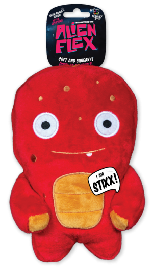 Stixx Alien Flex Plush is red with a orange accents on body