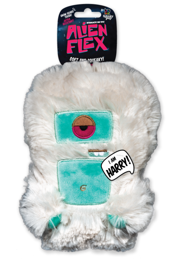 Harry Alien Flex Plush has a white extra plush body with teal accents for the face and stomach