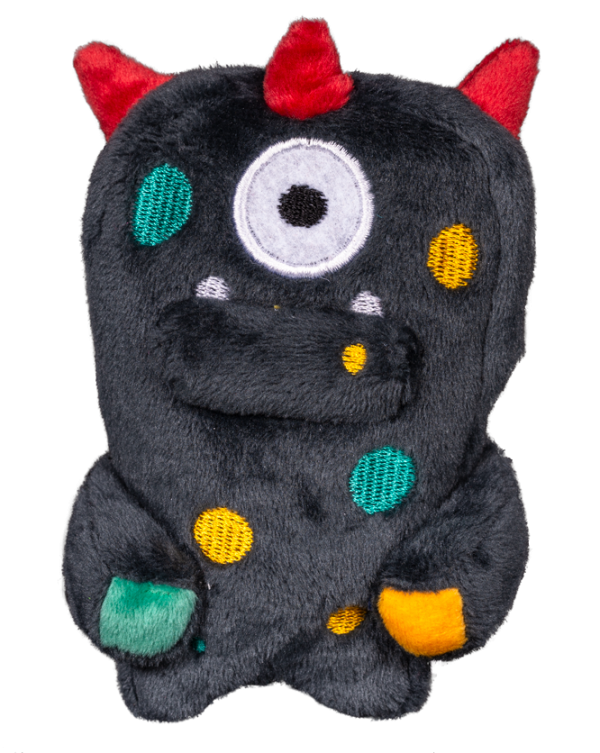 Mini Ghim Alien Flex Plush is dark grey with multiple color accents on the body