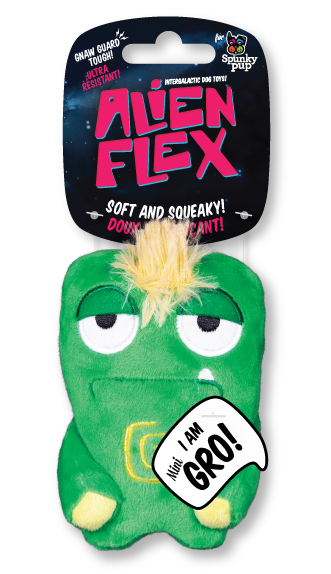 Mini Gro Alien Flex Plush is green with yellow accents on the body