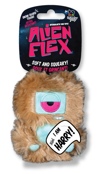 Mini Harry Alien Flex Plush has a light brown extra plush body with teal accents for the face and stomach