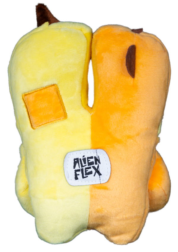 Jimmy and Joe Alien Flex Plush is half orange and half yellow - back side
