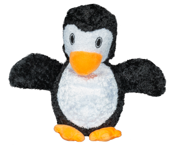 Furry Friends Penguin shaped plush toy with squeaker