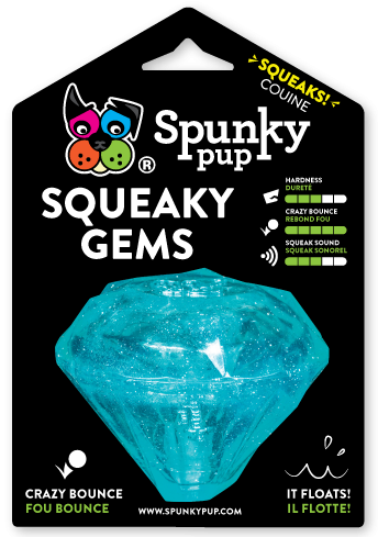 Squeaky Gems Diamond is light blue and shaped like a brilliant cut gem