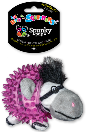 Lil' Bitty Squeakers Zebra is white and black with magenta squeaker