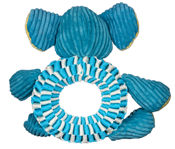 Wibbleez Elephant is blue and made with strong, stretchy nylon webbing - back side