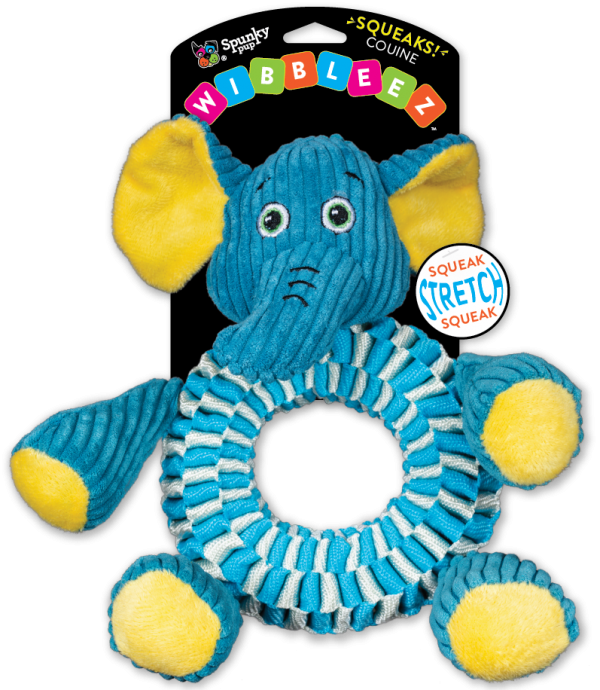 Wibbleez Elephant is blue and made with strong, stretchy nylon webbing
