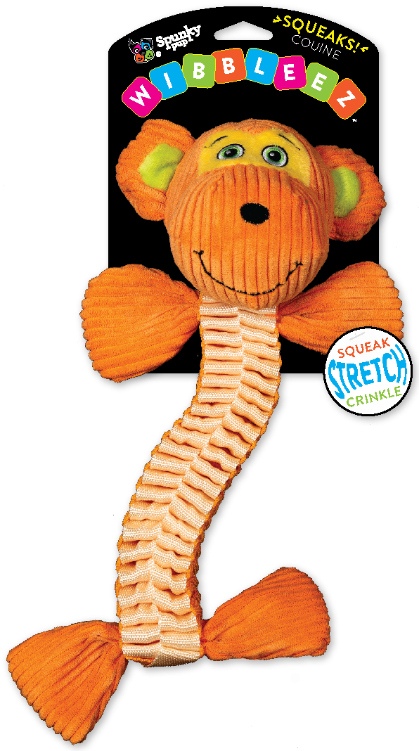 Wibbleez Monkey is orange and made with strong, stretchy nylon webbing