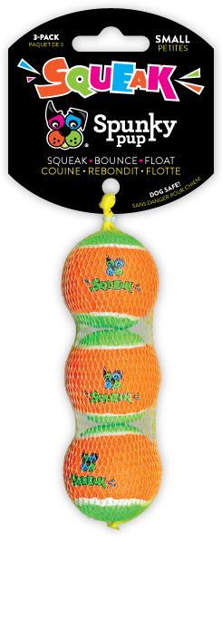 Three Spunky Pup Tennis balls stacked inside mesh netting