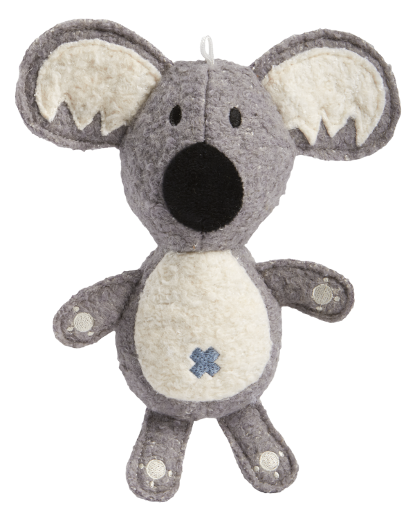 Woolies Koala shaped toy, grey with white accents