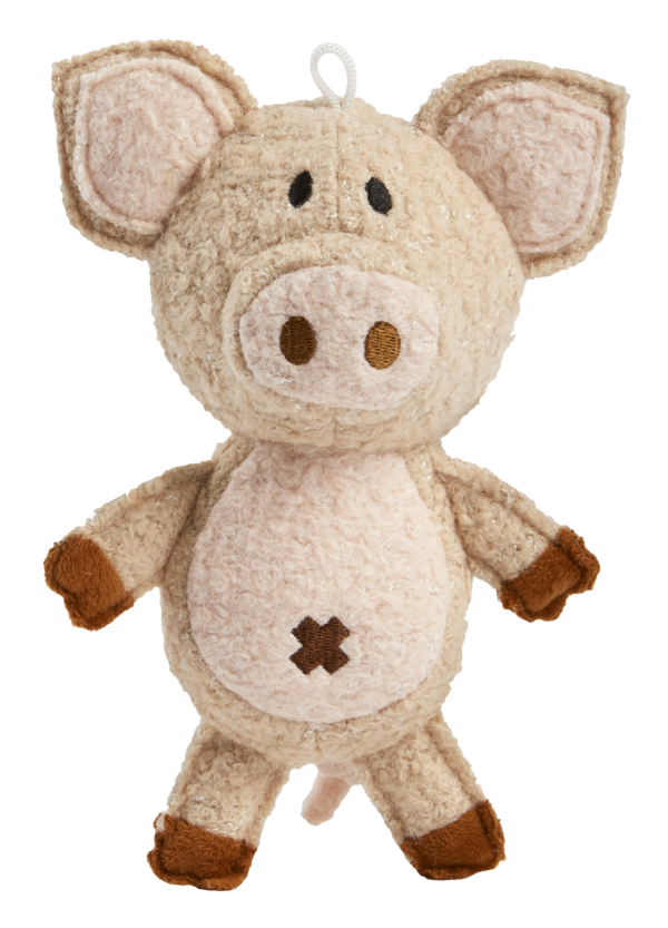 Woolies Pig shaped toy, pink with brown accents