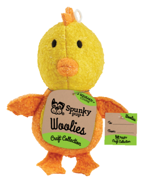 Woolies Chicken shaped toy, yellow with orange accents