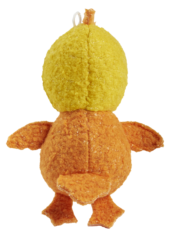 Woolies Chicken shaped toy, yellow with orange accents - back side