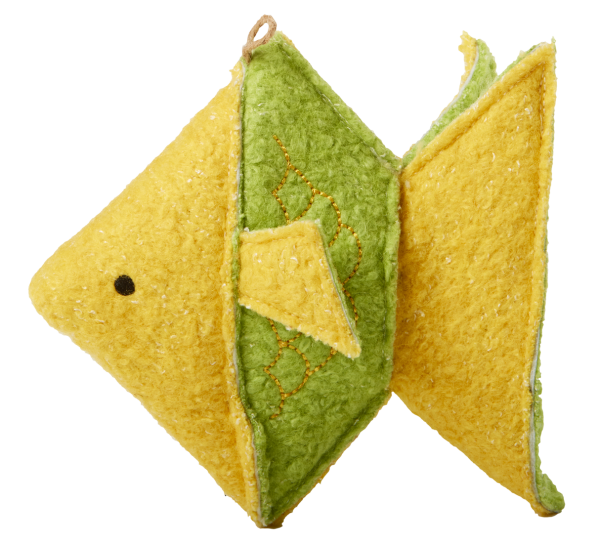 Origami Plush Fish shaped toy, green and yellow