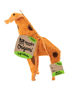 Origami Plush Giraffe shaped toy, orange with brown accents