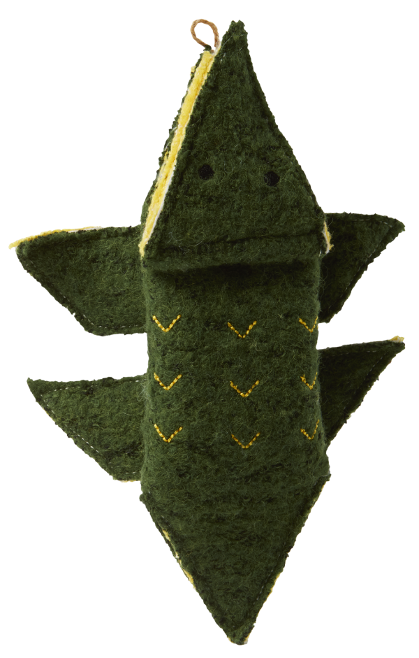 Origami Plush Alligator shaped toy, dark green with yellow accents