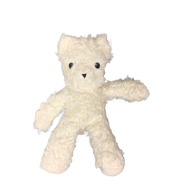 Organic Cotton Bear shaped plush toy with white fur