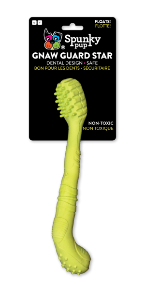Gnaw Guard Foam Toothbrush is lime green