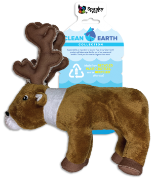 Clean Earth Caribou, brown and white plush toy