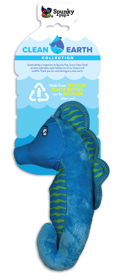 Clean Earth Seahorse, blue and green plush toy