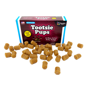 Tootsie Pups box with treats laying in front