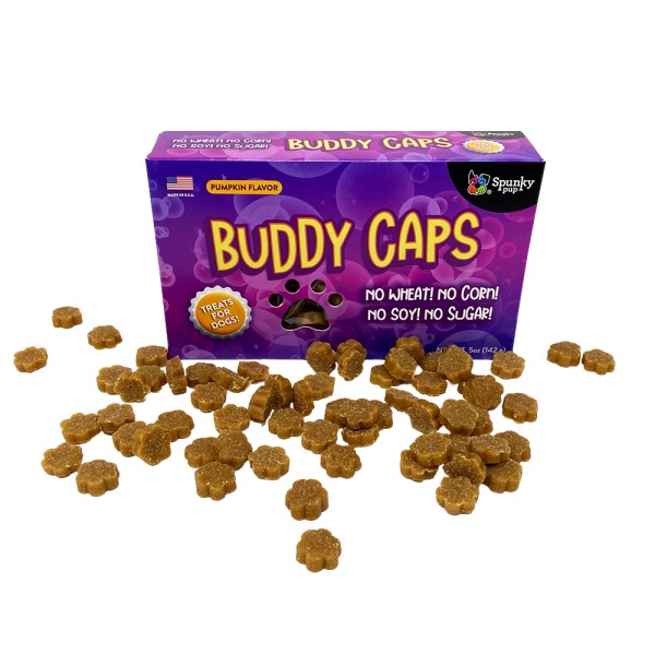 Buddy Caps box with treats laying in front