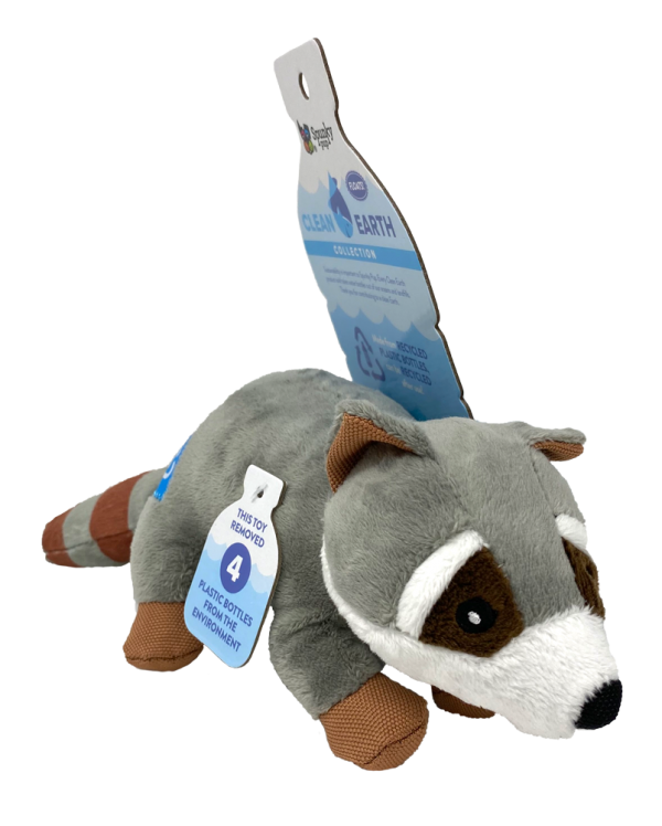 Clean Earth Raccoon, grey and white plush toy